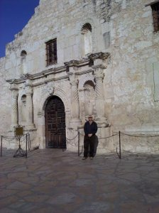 In front of the Alamo Church