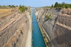 the Corinth Canal: 3.9 miles long, 82 feet wide, 300 feet from the water to the top