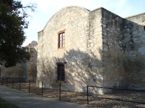 The reconstructed rear of the Alamo Church