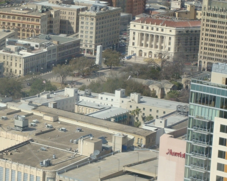 The Alamo site from the Tower of the Americas