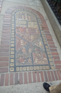 Mosaic marking the site of the Boston Latin School. American's first public school.