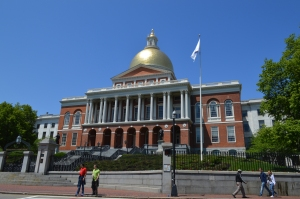 The 24 karat gold domed Massachusetts State House.