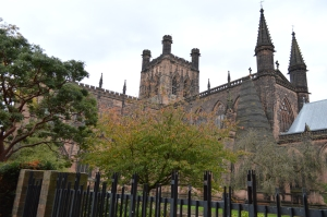 Chester Cathedral with its newer bell tower