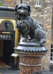The memorial to Bobby at the corner of Candlemaker Row and George IV Bridge Streets
