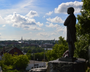 The statue of Joshua Chamberlain in Brewer, Maine.