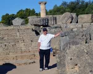 At the entrance to the Temple of Zeus