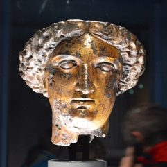 Roman bust of a lady or goddess found at the baths.