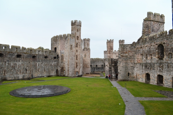 Inside Caernarfon Castle, looking at the stone circle where Charles was Investitured