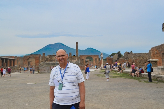 Me at the Forum of Pompeii with the Mountain in the background.