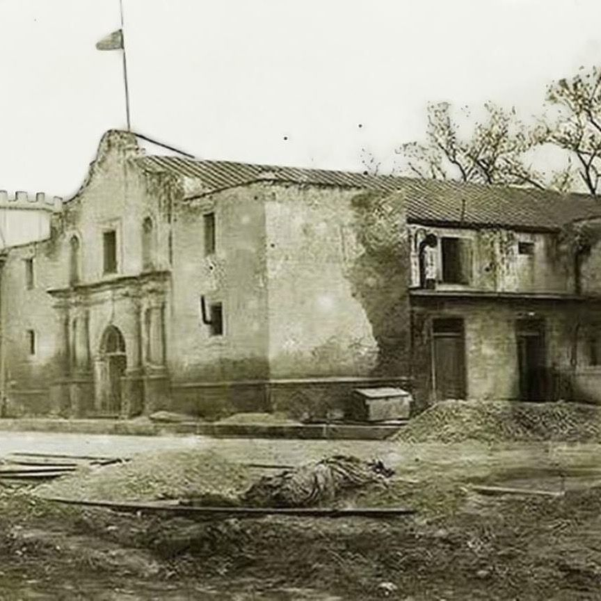 The Alamo church before restoration