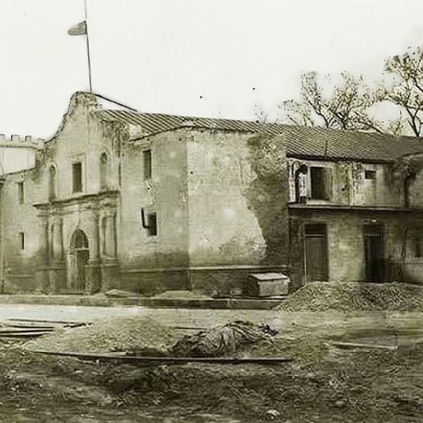The Alamo church before restoration